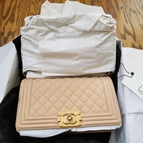 0920f7c6cf14 CHANEL Bags | Bnib 17c Boy Old Medium Beige Caviar Ghw | Poshmark